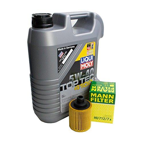 LIQUI MOLY Top Tec 4100 5W-40 3701 + MANN FILTER Ölfilter HU 712/7 x