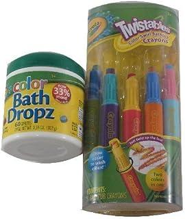 Crayola Bathtime Fun Bundle: 5 Twistables Color Swirl Bathtub Crayons & 60 Color Bath Dropz Tablets