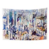 Haoyiyi 59.1x39.4 Inches Scyscrapers Tapestry Colorful Abstract Art Building Street Wall Hanging Oil Painting Trippy Wild Scenery Aesthetic Boho Retro 3D Boutique Wall Tapestry for Bedroom Decor