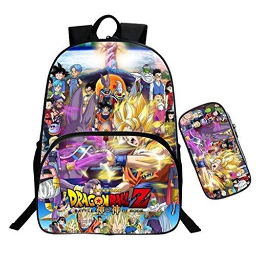 Sac à Dos Dragon Ball Z, Cartable Dragon Ball Super Enfant College Garçon Sac Scolaire Sac decole avec Trousse Scolaire Sac de Voyage Loisir Sacs Ados Trousse Décole (2)