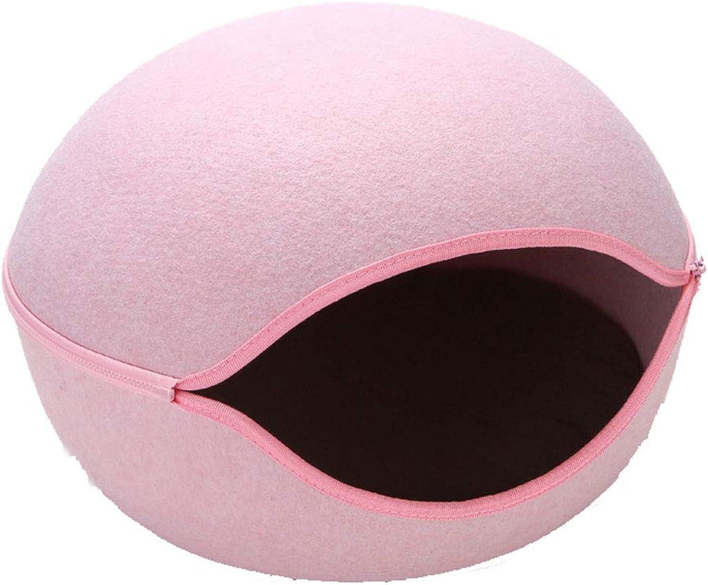 CXDEA Kitten Bed Portable Round Pet Bed Dustproof Hypoallergenic Detachable Comfort 50×50×32cm   19.6×19.6×12.6in Pink