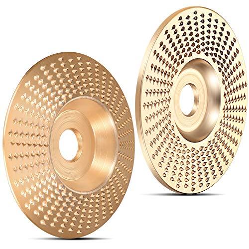 2 Discos Muelas de Carburo de Tungsteno de 4 Pulgadas Disco de Talla Madera de 5/8 Pulgada de Oro, Disco Abrasivo Moldeador de Amoladora Plana y Disco Abrasivo de Talla de Madera Biselada