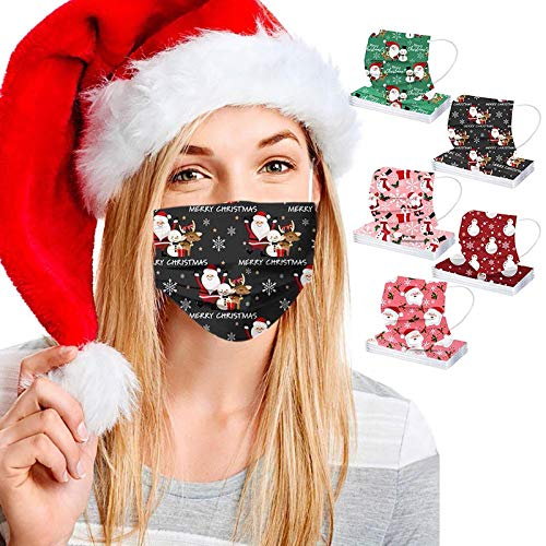 50 PCS Disposable_Face_Masks for Adults, Christmas Print Breathable 3 Ply Safety Protection with Elastic Ear Loops and Nose Clip Suitable for Home, Office, Outdoor, Xmas, School (A8, 50)