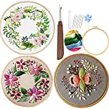 Embroidery Starter Kits for Adults Beginners with Stamped Pattern, Cross Stitch Beginner Kits with English Instructions Hoop, Floral Series(Line Embroidering), 3 Pack