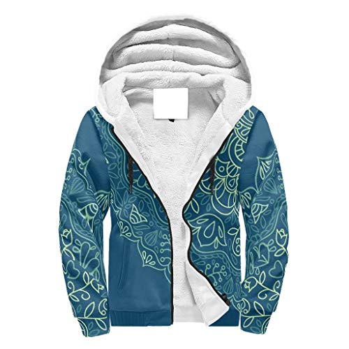 Lind88 Mannen Zip Up Zware Fleeced Hoodie Dubbele Laag Jongens & Meisjes Donkerblauw Mandala Gedessineerd Effen - Etnische stijl met Patch Pocket Gezellige Uniform voor Bestfriend Present