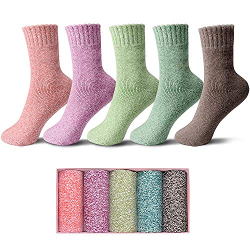 Womens Wool Socks 5 Pack Thick Knit Vintage Winter Warm Cozy Crew Socks Gifts Multicolor With Box (Multicolor-A)