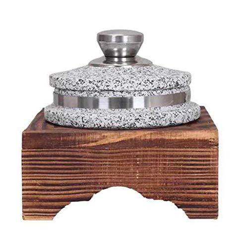 BB&UU Korean Granite DOLSOT Stone Bowl With Lid,Heavy-duty Granite Stone Bowl With Wood Base,Donabe Rice Cooker,Ceramic Pot Casserole,Clay Pot For Korean Cuisine Stone Diameter:12cm(5inch)