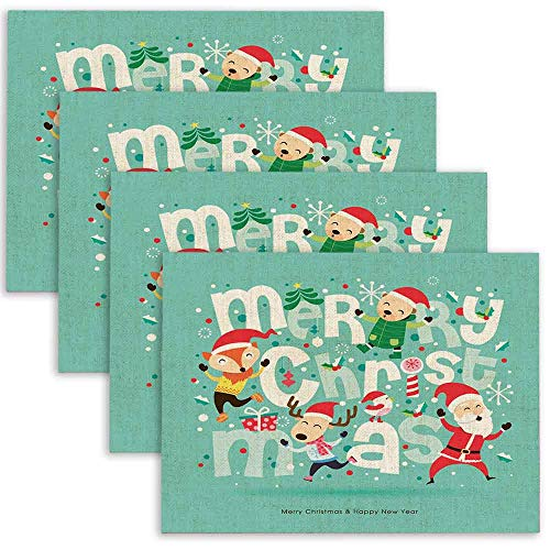 Bisead ModernPlacemats Farmhouse Placemats Santa Amp Friends Christmas Card LinenPlacemats for Dining Table Set of 4 18X12Inches