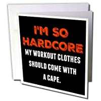 Xander面白い引用 – Im So Hardcore My Workout clothes should come with aケープ – グリーティングカード Individual Greeting Card