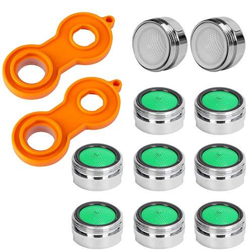 Aerator M24, 10 piezas Faucet Colador Inserto, Aireador para Grifo, Filtro de Acero Inoxidable, para Grifos + 2 piezas llave