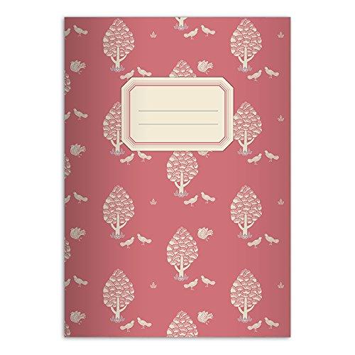 Kartenkaufrausch 4 schöne Retro DIN A4 Schulhefte, Schreibhefte mit Central Park Motiv, rot Lineatur 25 (liniertes Heft)