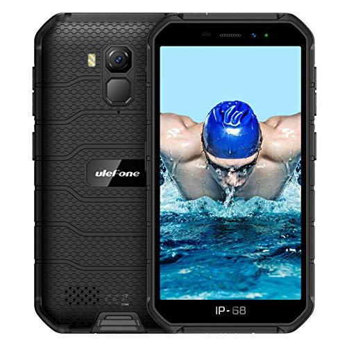 Ulefone Armor X7 Pro - Teléfono móvil Android 10, Quad-Core 4 GB + 32 GB, IP68, resistente 13 MP, cámara subacuática, batería de 4000 mAh, NFC/Dual SIM, desbloqueo facial, color negro