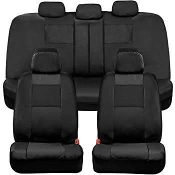 BDK Croc Skin Faux Leather Car Seat Covers, Full Set Black – Universal Fit Design, Airbag Compatible, Front and Back Seat Cover for Cars Trucks Vans and SUVs
