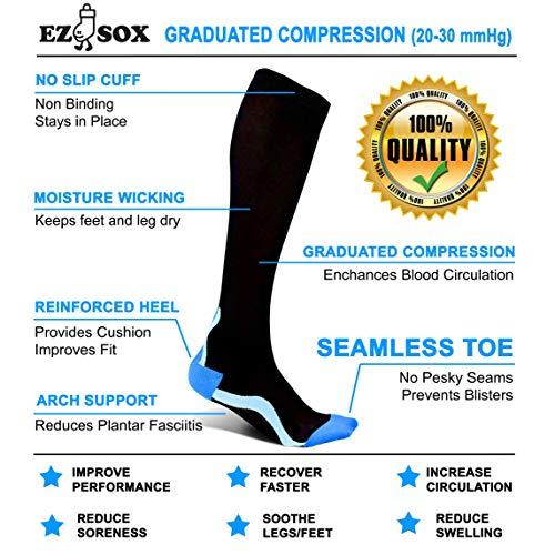 Ez Sox Compression Socks / 20-30 mmHg, Seamless Toe for Men & Women - black - L-X-L