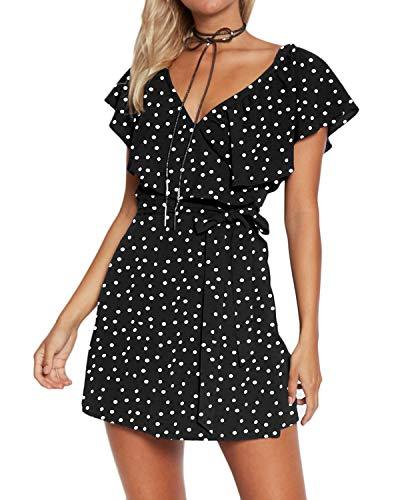 Yoins - Vestido de verano para mujer, corto, cuello en V, sin hombros, elegante, vestido de playa, minivestido de fiesta 11 L