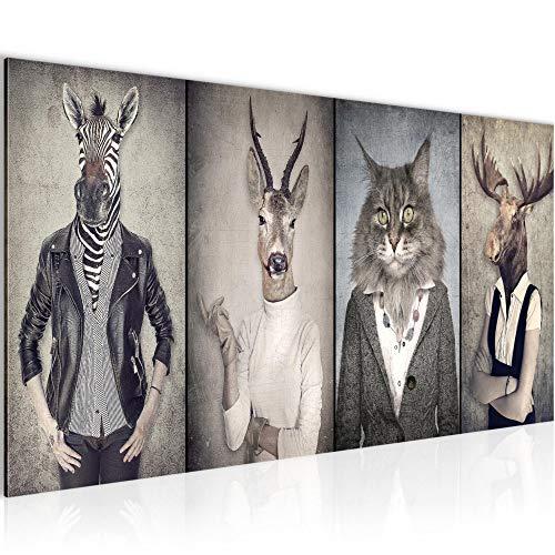 Bilder Tiere Hirsch Abstrakt Wandbild Vlies - Leinwand Bild XXL Format Wandbilder Wohnzimmer Wohnung Deko Kunstdrucke Braun 1 Teilig - MADE IN GERMANY - Fertig zum Aufhängen 018312a