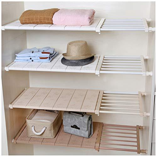 HyFanStr Expandable Wardrobe Storage Closet Organiser for Wardrobe, Cupboard, Airing Cupboard Shelves (Length:33-53CM, Width:30CM, Beige)