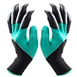 Ksmiley Garden Genie Gloves with Claws, Waterproof and Breathable Gardening Gloves for Digging Weeding Seeding poking, Safe for Rose Pruning, Best Gift for Gardeners (Double Fingertips Claw)