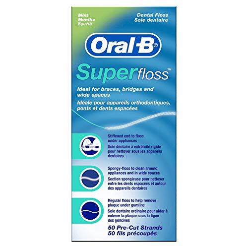Oral-B Super Floss Mint Dental Floss Pre-Cut Strands 50 ea (Pack of 3)
