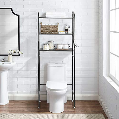 Toiletten-Regal, 3-schichtiges Eisen-Badezimmer-Toilette-Boden-Regal-Waschmaschine-Regal für das Halten von Tüchern und anderen Toilettenartikeln, 56 x 25 x 151cm (Schwarzes)