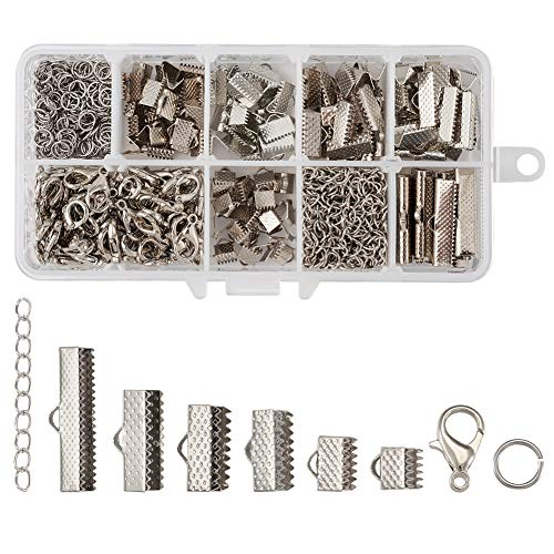 Pandahall 500pcs Iron Ribbon Ends Fastener Clasps Kit with Twist Extender Chains Stainless Steel Jump Rings and Alloy Lobster Claw Clasps