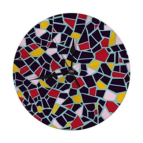 Mesllings Reloj de pared sin tictac, 9.8 pulgadas, diseño abstracto brillante, textura infinita, fragmentos de azulejos de cerámica, grandes relojes redondos