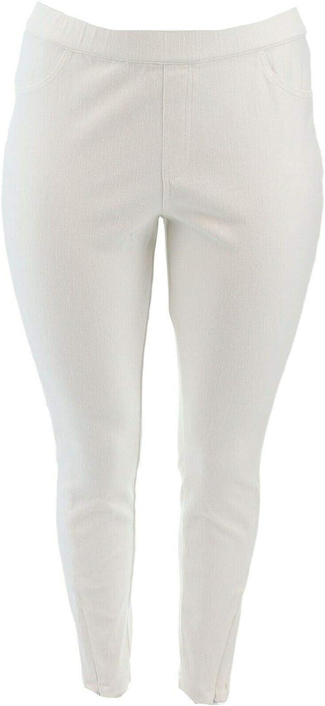 H Halston Knit Denim Ankle Pants Zipper White 20W New A351208