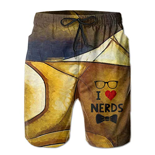 Quick Dry Men's Beach Shorts I Love Nerds Mesh Lining Surfing Swim Board Trunks with Pockets M White