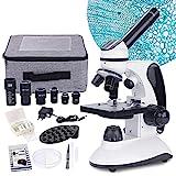 Microscopio monocular 40X-2000X para Estudiantes Adultos, microscopio Profesional para Principiantes con iluminación LED Dual con Kits, Lentes de Vidrio óptico, Estuche de Transporte,15 portaobjetos