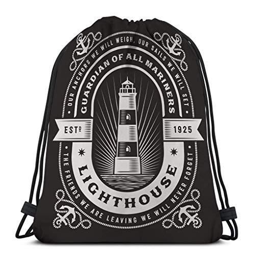 JHUIK Drawstring Bag Backpack,Kordelzug Bundle Bag Sport Rucksack Reisetasche für alle Vintage Leuchtturm Typografie Black Label Clipping Maske editierbar