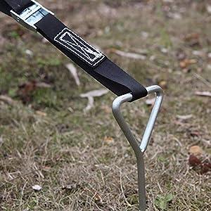 Bogeer Bodenanker für Trampolin Erdanker-Set Spiral Bodenverankerung Deluxe Erdanker Set mit verstellbarem Gurt 4 Bodenanker zur Sicherung bei Wind Stark Stahl-Schnallen