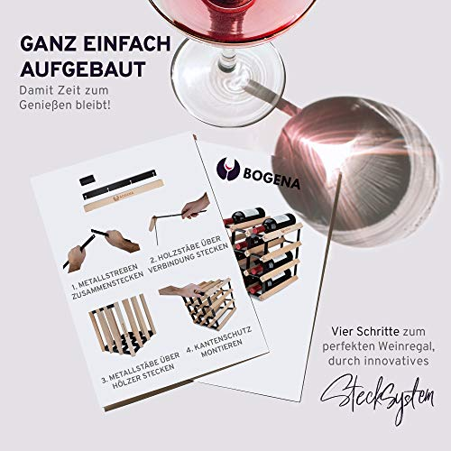 BOGENA® aus Holz - im einzigartigen Design - in 3 Varianten erhältlich - stabil, langlebig & modern - Elegantes Flaschenregal für Ihre heimische Weinsammlung (12 Flaschen) - 7