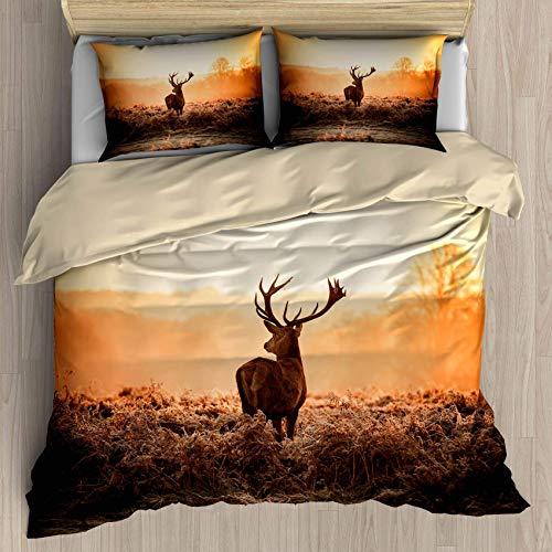Juego de funda de edredón de cornamenta tamaño queen, ciervo rojo en sol de la mañana, juego de cama decorativo de 3 piezas con 2 fundas de almohada (color 22, Queen)