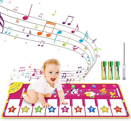 RenFox Kids Musical Keyboard Piano Mat Electronic Music Play Blanket Dance Mat with 8 Different product image