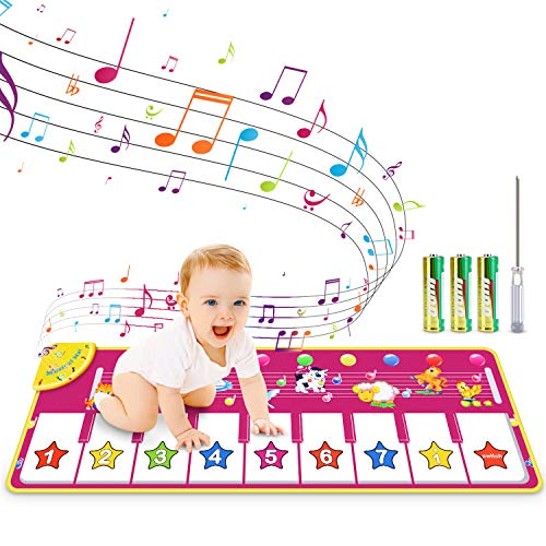 RenFox Kids Musical Keyboard Piano Mat  Electronic Music Play Blanket Dance Mat with 8 Different Animal Sound for Early Learning Education Toys Gift for Toddler Baby Boys Girls (Batteries Included)