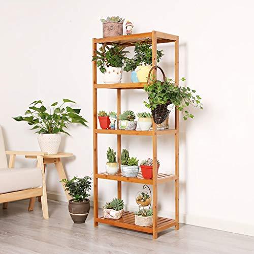 GWFVA Afwerkingspot voor bloempotten. Bloemstandaard, massief hout verkoolde meerlagige hout bloem steun bonsai, balkon steun voor vleesplanten onderste plank Woont (formaat: C)