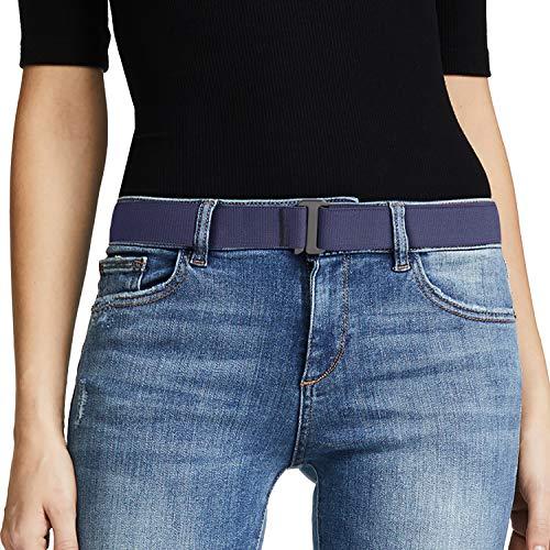 No Show Women Stretch Belt Invisible Elastic Web Strap Belt with Flat Buckle for Jeans Pants Dresses(Suit for US Size 0-16,Blue-Guncolor Buckle)