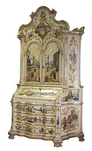 Trumeau mit Schnitzarbeot und Dekor, Möbel Trumeau mtit 3 Schubladen, 2 türen und Klappe. Handgemachtes Möbel mit Dekor Blattgold und Blattsilber, höchwertiges Möbel Made in Italy.
