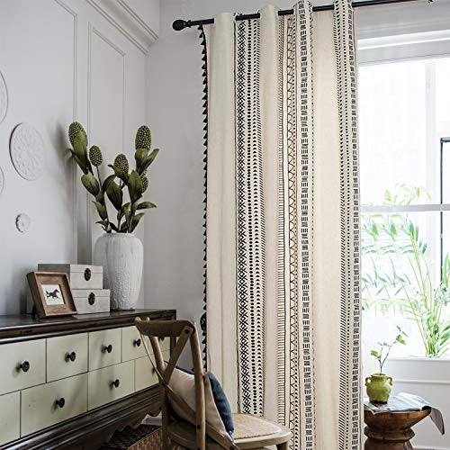 Bohemian Geometric Window Curtains with Tassels Semi Blackout Curtain Panels Boho Cotton Linen Grommet Window Drapes for Living Room Bedroom 63 × 59 Inches, Black and White