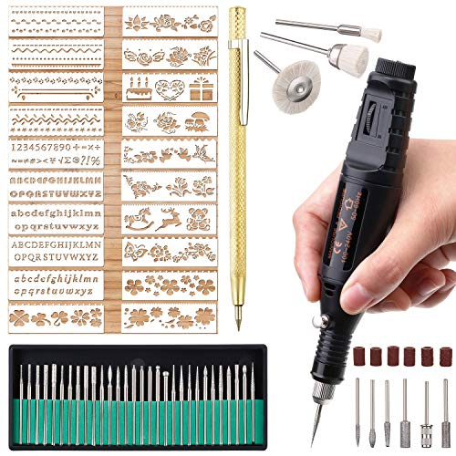 Electric Micro Engraver Pen Mini DIY Engraving Tool Kit for Metal Glass Ceramic Plastic Wood Jewelry 1 Scriber Etcher 30 Bits 6 Polishing Head 3 Wool Cleaner Bits 20 Stencils and Operating Instruction