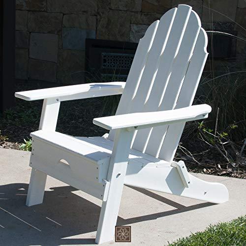 ResinTEAK Plastic Folding Adirondack Chair, White | Adult-Size, Weather Resistant for Patio Deck Garden, Backyard & Lawn Furniture | Easy Maintenance & Classic Adirondack Chair Design