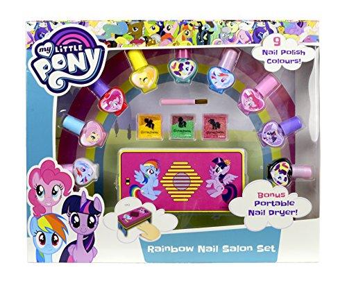 Mobiler My Little Pony Nagel-Trockner mit umfangreichem Nageldesign-Set (Abzieh-Nagellack & Glitterpuder) für MLP-Fans