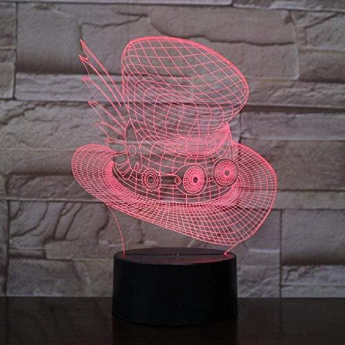 Luz de noche 3D para con lámpara de decoración con sombrero de juego mágico acrílico 7 colores lámpara de escritorio 3D novedad LED noche luz decoración del hogar mesa regalo de cumpleaños para niños