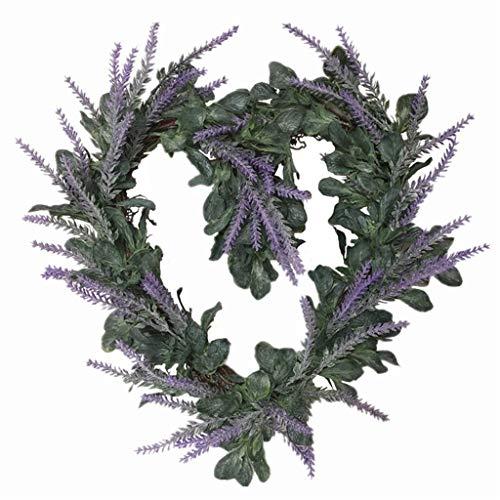 Cgration Künstliche Blumen Herzförmiger Lavendelkranz Frühlingskranz Outdoor für Haustür Wand Fenster Party Hochzeit Dekor