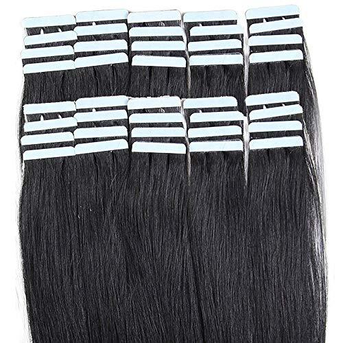 35cm Extension Adesive Capelli Veri 40 fasce 80g/set Remy Human Hair Tape in Lisci Umani Riutilizzabile Seamless, 1 Nero