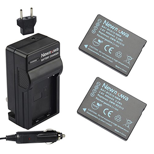 Newmowa DMW-BCG10 Replacement Battery (2-Pack) and Charger Kit for Panasonic DMW-BCG10, DMW-BCG10E, DMW-BCG10PP and Panasonic Lumix DMC-3D1, DMC-TZ6, DMC-TZ7, DMC-TZ8, DMC-TZ10, DMC-TZ19, DMC-TZ20