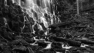 YYAYA.DS USA nature landscape Oregon Ramona Falls stones - Art Print Silk Fabric Cloth Wall Poster Print 42x24 Inches Black and White