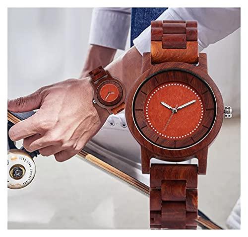 yuyan Reloj Rojo de sándalo, Hombres y Mujeres Simples de Cuarzo, dial de Puntero Luminoso Creativo, Duradero, Respetuoso con el Medio Ambiente, Sano y cómodo.