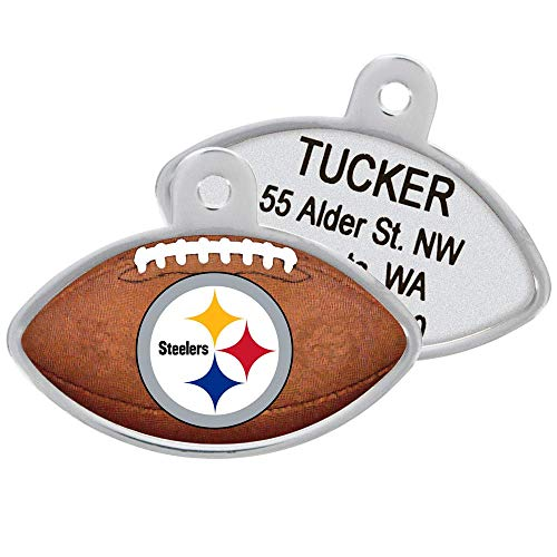 Personalized NFL Sports Team Dog Tags, Custom Engraved Pet ID Tag, Football Shape