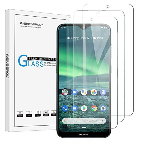 NEWZEROL 3 Stücke Kompatibel für Nokia 2.3 Bildschirmschutzfolie Kleinere Größe Nicht vollständige Abdeckung 2.5D Arc Edges 9 Festigkeit Hochauflösende Schutzfolie aus gehärtetem Glas